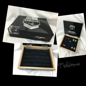 Custom Camacho Cigar Box Jewelry Box, Ring, Stud Earring & Cuff Link Holder, Ring, Cufflink and Jewelry Display by Michelaneous