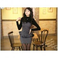 Elegant Turtle-neck Sweater Flouncing Tight Dress--Women's Dresses China Wholesale - Sammydress.com
