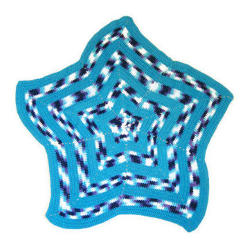 "Hand Crocheted Multi Blue Star Baby Afghan Brand New 42"" Cotton Yarn"