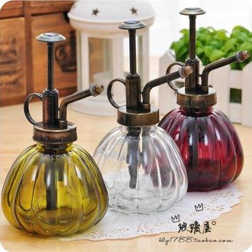 Gardening Plant Watering Cans Retro Antique Copper Kettle Small Watering Can Pumpkin Glass Gardening Water Cans Garden Supply