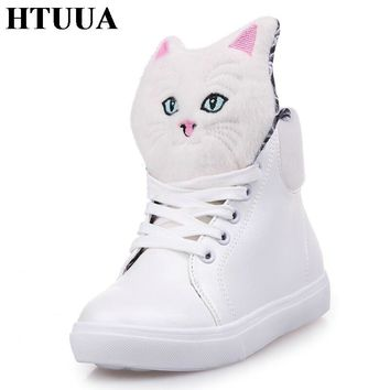HTUUA 2017 Autumn New Women Teens Fashion Casual Kitten Cartoon Lace-Up Female Students Flat Shoes Woman Flats Size 35-40 SX549