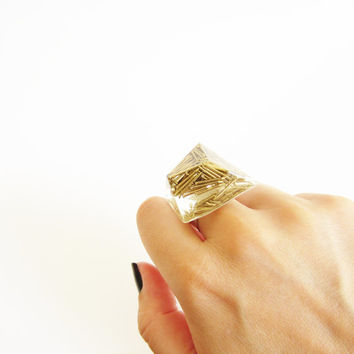 Small rock resin RING Gold brass NAILS diamond. Sterling silver 925. Luxury styled to rock ring