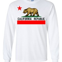 California State Flag - Borderless White Long Sleeve T-Shirt by DSC