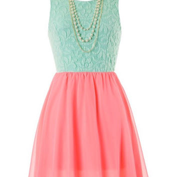 Pearls and Lace Dress - Neon Pink and Mint