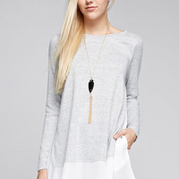 Chiffon Trim Grey Knit Tunic Top