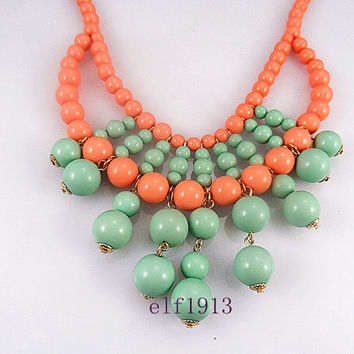 Classic handmade bubble necklace Bubble Necklace,Cluster Necklace,bib necklace Statement Necklace /mint and coral necklace.wedding necklace