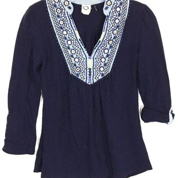Anthropologie Akemi + Kin Blue Shirt Top Mirror Embroidered Neck Boho Womens XS - Preowned