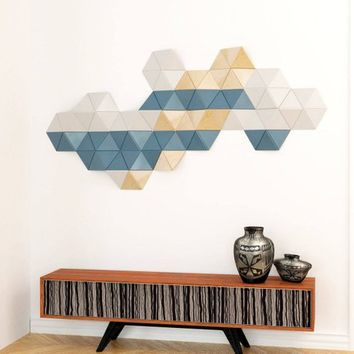 Wood wall art/ 3d wall tile/Turquoise/ Wood wall art design/ Wall installation/ Geo wall art/ Abstract painting on wood/ Wood wall decor