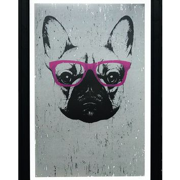 French Bulldog with Pink Glasses Art Print / Poster - 13x19""