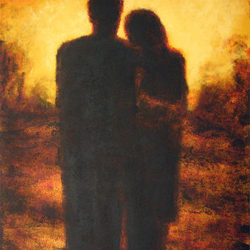"""Original Couple Painting- """"With You"""" - 30"""" x 40"""" -SOLD"""