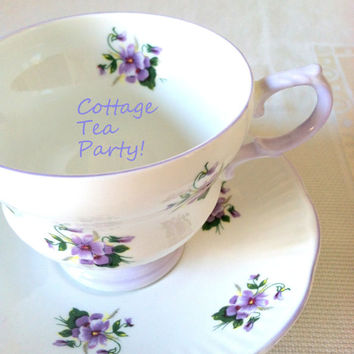 """Vintage Footed Tea Cup and Saucer by Rosina """"Dainty Flower Series"""" Fine Bone China / Tea Party / Cottage Style / Made in England"""