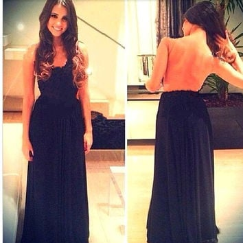 Black Backless Sheath Pleated Maxi Dress