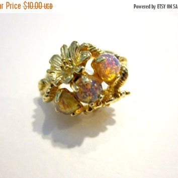 ON SALE Avon Faux Opal Ring Gold Foiled Opal Ring Signed Avon Gold Flower Ring