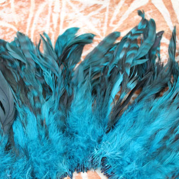 Coque feathers- 4-8 inch length -chinchilla turquoise striped