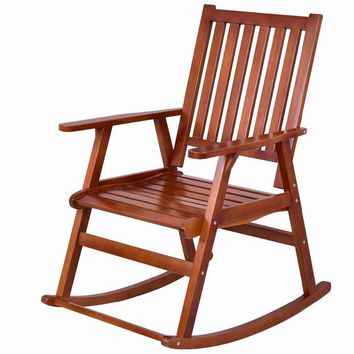 Giantex Wood Rocking Chair Garden Single Porch Rocker Indoor Outdoor Rocker Patio Furniture HW56205