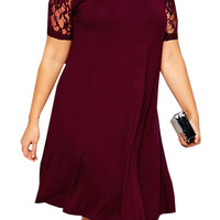 Red Lace Sleeve Plus Size Swing Dress