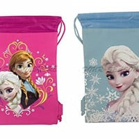 New Disney Frozen Queen Elsa Drawstring String Backpack School Sport Gym Tote Bag!- Set of 2 Bags (Pink + Baby Blue)