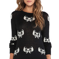 Wildfox Couture French Bows Pullover in Black