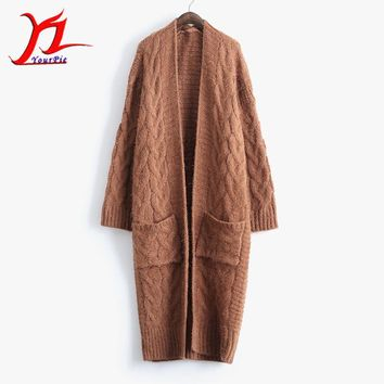 Autumn Winter Women Cardigan Thick Knitwear Outer Lengthen Loose Pocket Twist Fashion V-Neck Modest Solid Color
