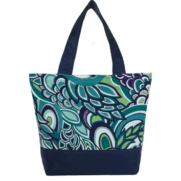 Teal Swirled Paisley   Navy Nylon   Essential Tote
