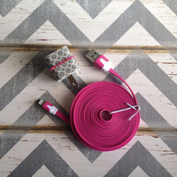 New Super Cute Jeweled Grey & White Moroccan Designed iPhone 5/5s Wall Connector Plus Charger + 10ft Hot Pink Cable Cord