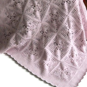 Pink Handmade Newborn Blanket - Receiving Blanket - Baby Shower Gift  -  Crib Blanket - Baby Girl - Stroller Blanket - Pram Blanket