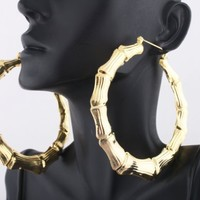 Ladies Gold Circle Shape Bamboo Style 3.25 Inch Hoop Earrings | AihaZone Store