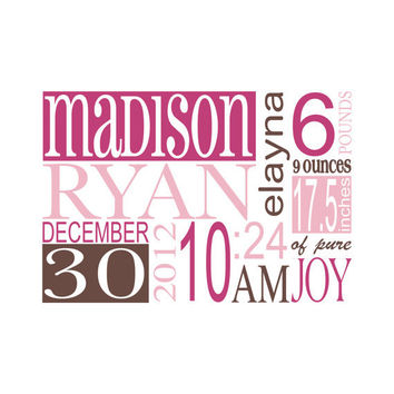 Birth Announcement Subway Art Wall Decal Personalized Name And Birth Statistics For Girl Or Boy Baby Nursery Vinyl Wall Art 15H x 22W CN019