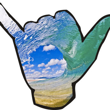 "Hand Shaka ""Hang Ten""  Wave Decal"