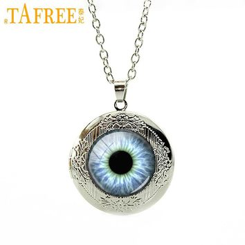 TAFREE Dragon Cat Eye Pendant Necklace Reptile Eye Game of thrones locket Necklaces punk gears Camera Lens picture jewelry N602