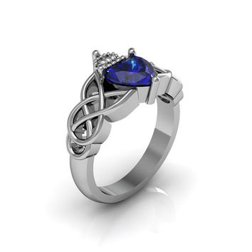Claddagh Ring - Sterling Silver Blue Saphire Love and Friendship Engagement Wedding Anniversary Promise Ring