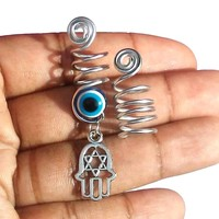 Wire wrapped, Spiral, Evil Eye, Hamsa Dreadlock jewelry, hair accessories, jewelry set......Choose a size