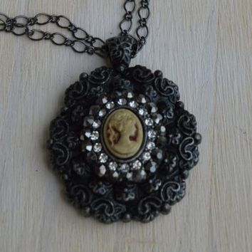 Fancy Gunmetal and Rhinestone Lady Cameo Necklace, Victorian Vintage Style, Black Metal, Gothic Cameo Necklace, Fancy Lace, Flower, Floral