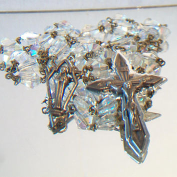 Vintage Iridescent Crystal Rosary Beads Religious Catholic Christian Collectible Gifts