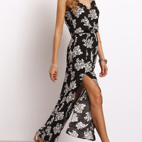 Black Spaghetti Strap Floral Split Dress
