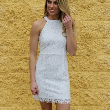 Halter Neck Lace Bodycon Dress Off White