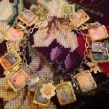 Disney's Winnie the Pooh Colorful Altered Art Charm Bracelet