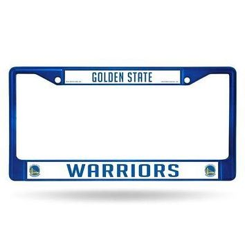 Golden State Warriors NBA Licensed Blue Painted Chrome Metal License Plate Frame