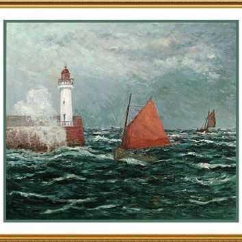 Maxime Maufra Returning Fishing Boats Counted Cross Stitch Chart