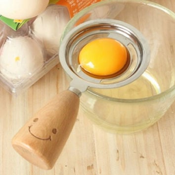 Wood Smiling Face Egg Separator Divider