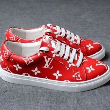 PEAPN Louis Vuitton x Supreme Red Trend Fashion Casual Sneakers