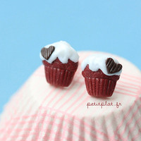 Red Velvet Cupcake Studs / Earrings - Cupcake Collection