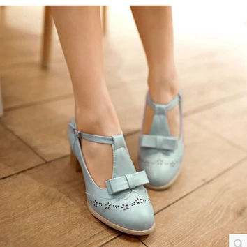 Women new fashion summer Spring new trend vintage 6cm thick heels pumps round toe candy color shoes large plus size 40-45