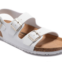 2017 Birkenstock Summer Fashion Leather Cork Flats Beach Lovers Slippers Casual Sandals  color white For Women Men Couples Slippers