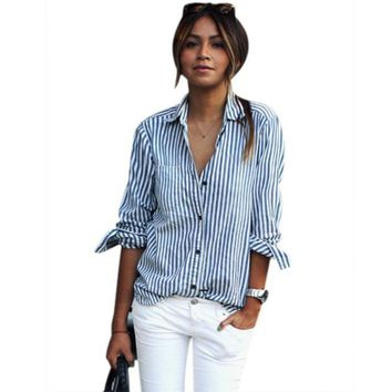 Women Blue Vertical Striped Shirt Autumn 2019 Full Sleeve Pocket Blouse Button Front Blouse Mujer Tops Camisa Feminina #10