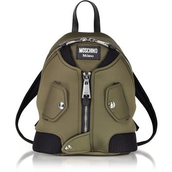 Moschino Military Green Nylon Bomber Jacket Backpack