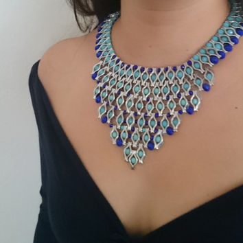 Aztec Inspired Blue Crystal Necklace Statement Bib Necklace Crystal Bib Collar Blue and Night Blue Matte Crystal Beads Ethnic Jewelry