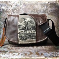 Leather Camera Bag  -  Giraffe Tapestry Medium DSLR - Pre-Order