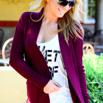 SIMPLE GIRL CARDI IN WINE
