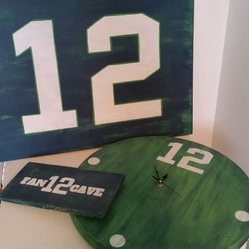 12th Man Bundle, 12th Man Clock, Seahawks Inspired Clock, Seahawks, Seahawks Clock, 12th Man Sign, Vintage Inspired Sports Sign, 12th Fan